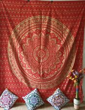 Queen Size Tapestry Red Gold Mandala Cotton Textile Bedcover Wall Hanging Indian