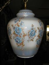 Iridescent Light Blue Glass Swag Lamp Hand Painted Flowers
