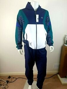 BNWT LACOSTE SPORT TENIS BLUE / WHITE / GREEN FULL TRACKSUIT SIZE 6 XL RRP £190