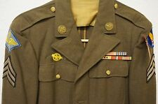 VTG US. Army Gabardine Dress Coat Loaded with Patches / Pins / Ribbons (A1299)
