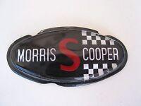 "MORRIS COOPER S BONNET BADGE NOS  RARE BLACK "" MORRIS S COOPER""   NOS BMC MINI"