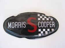 "MORRIS COOPER S BONNET BADGE SUPER  RARE BLACK "" MORRIS S COOPER""  NOS BMC MINI"