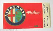 VECCHIO ADESIVO ORIGINALE / Old Sticker _ ALFA ROMEO SPORTS WEAR (cm 11 x 6)