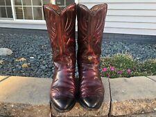 Men's Vintage Acme Burgundy Leather Cowboy Boots Size 10.5 D