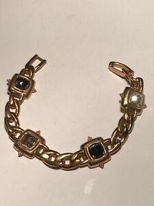 "Brighton 7"" bracelet gold tone with CZ stones chain style"