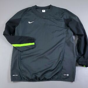 Nike Soccer Jacket Authentic Team Nike Dri Fit Mens XL Pullover Black Neon Green