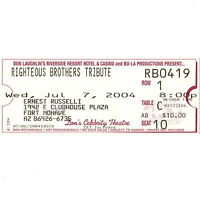 THE RIGHTEOUS BROTHERS Tribute Concert Ticket Stub LAUGHLIN NV 7/7/04 RV CASINO