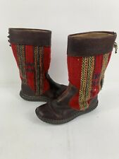 Born Red Wool Indian Blanket & Dark Brown Leather Mid-Calf Boots Blemish Size 8