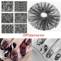 20Pcs/Set Fashion Nail Art Black Lace Flower Nails Transfer Foil Stickers Decals