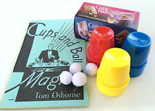 CUPS & BALLS SET + MAGIC BOOK COMBO Beginner Osborne Magician Close Up Secrets