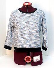 JUICY COUTURE Women's Sweater Top Sz Medium 3/4 Sleeve Blue & Black Velvet Trim