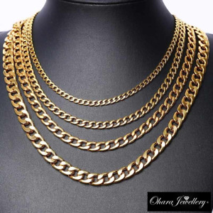 18K Yellow Real Solid Gold Filled 20 Inches Curb Cuban Chain Necklace Jewellery
