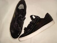 01 PUMA Basket Black Wet Look Ribbon Lace Ties Trainers UK 7