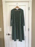 Lularoe Sarah Cardigan Duster Sweater Solid Heathered Green Long Sleeve Size XS