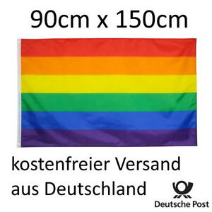 Große Regenbogenfahne 90cm x 150cm  - Regenbogen Fahne [NEU]