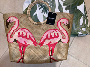 New Flamingos Tommy Bahama Flamingo Palm Beach Tote Bag Zipper Handbag Wicker