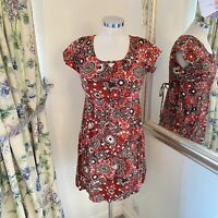 Nomads Size 10 patterned summer light weight red floaty holiday dress loose fit