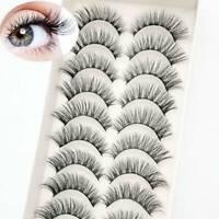 10 Pairs 3D Hair False Eyelashes Volume Thick Wispy Flutter Lashes Long Fluffy