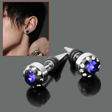 2pcs Blue Crystal Stainless Steel Ear Stud Earring Spike Men's Punk Cool Gothic