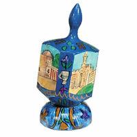 Jerusalem Hanukkah Dreidel with Stand - Chanukah - Hand Made in Israel