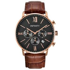 Infinity SP 07 Rosegold & Brown Leather Men's Classic Chronograph Watch - Luxury
