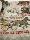 Vintage Linen Tea Kitchen Towel Wert Country Prints Horse and Buggy Days (A24-1)