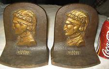 Antique Bradley Hubbard Dante Bust Cast Iron Statue Sculpture Bookends Doorstop