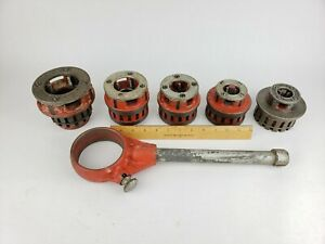 "Ridgid 12-R Pipe Threading Die Set + Ratchet (1/2"" 3/4"" 1"" 1-1/4"" 2"") Thread"