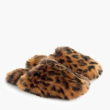 NWT J.CREW women's leopard fuzzy slippers Size Large