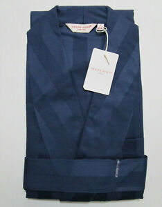 DEREK ROSE MENS GOWN - SMALL - 100% COTTON ROBE - RRP. £250 LINGFIELD SATIN NAVY
