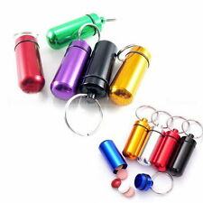 5Pcs LOT Waterproof Aluminum Pill Box Case Bottle Drug Holder Keychain Container
