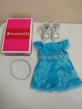 New in Box American Girl Kanani Blue Velveteen PARTY OUTFIT Dress Sandals