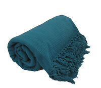 Teal 100% Cotton Sofa / Bed Throw Single Double King Size Throws