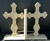 Vintage Bookends Christian Religion Crosses Cast Iron Lg. Pair Very Heavy Cast