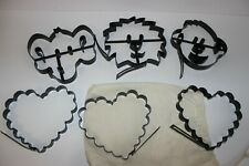 Lot of 6 Williams Sonoma metal pancake molds hearts monkey elephant clown