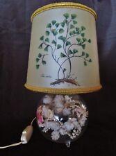 ancienne lampe pieds en verre -fleurs séchées-abat jour-felix capiltus-vintage