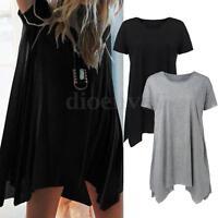 S-5XL New Women's V-Neck A-Line Tunic Short Sleeve Loose Top Blouse T-Shirt Plus