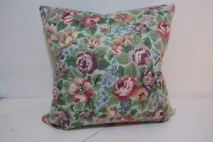 """Sanderson 18"""" Vintage Cotton Cushion Cover  Pretty Colours. Double Sided Zipped"""