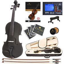 Cecilio 4/4 Ebony Fitted Solidwood Violin Metallic Black +Tuner+Book/Audio/Video
