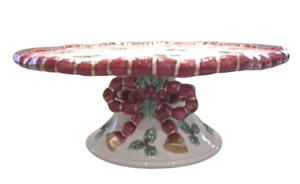 """FITZ and FLOYD Deck the Halls 10"""" Ceramic Cake Pedestal Stand Holly Ribbon NWOB"""