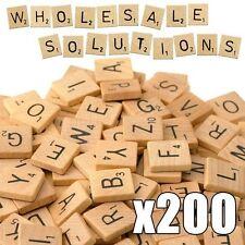 Scrabble Tiles x 200 Wooden Black Letter Wood Craft Alphabet Board Games
