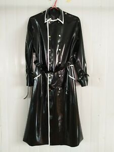 100% Latex Rubber Langer schwarzer Trenchcoat Gürtel 0.4mm Feste Größe0.4mm