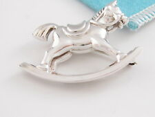 AUTHENTIC TIFFANY & CO SILVER ROCKING HORSE BROOCH PIN POUCH INCLUDED RARE