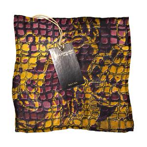 Men's Billionaire 100% Silk Red Gold Crocodile Print Pocket Square MSRP $145