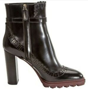 NIB Tod's Black Leather Ankle Boots Size 40