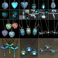 Women Luminous Glow In The Dark Hollow Heart Owl Animal Pendant Necklace Jewelry