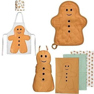 Gingerbread Man Apron, Tea Towel, Pot Holder, Childrens Shefs Apron/Hat Set
