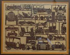 "Original George Wells ""On Wheels"" Linocut Print w/ Jeep Corvette Cars 60s Signed"