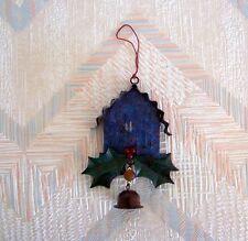 Birdhouse Christmas String Ornament Metal Regal Art Blue Birdhouse Holly Leaves