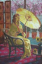 original oil painting: girl in kimono with parasol ,  blossom trees